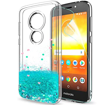 LeYi Funda Motorola Moto E5 Play Silicona Purpurina Carcasa con HD Protectores de Pantalla,Transparente Cristal Bumper Telefono Gel TPU Fundas Case ...