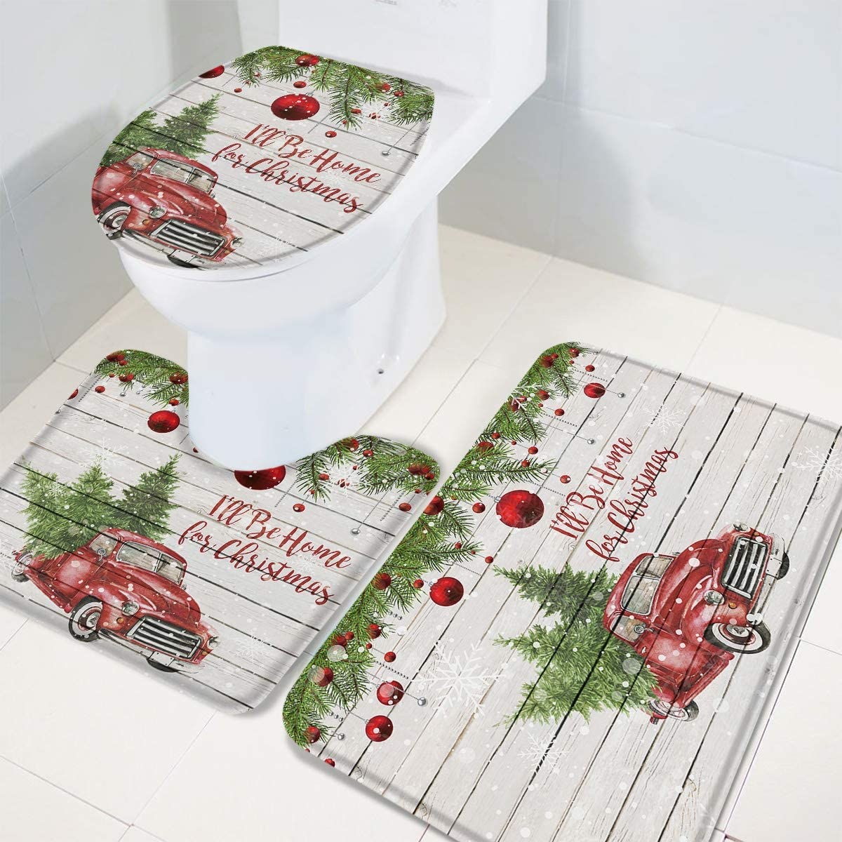 3 Piece Bathroom Mats and Rugs Sets Kids Bathroom Sets Non Slip Bath Rug Set with Rubber Backing Christmas Bathroom Decor Retro Red Truck Wooden Plank