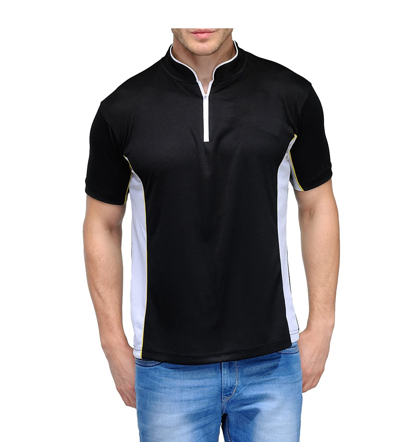 Black t shirt collar - Scott Men S Jersey Collar Neck Sports Dryfit T Shirt Black Amazon In Clothing Accessories