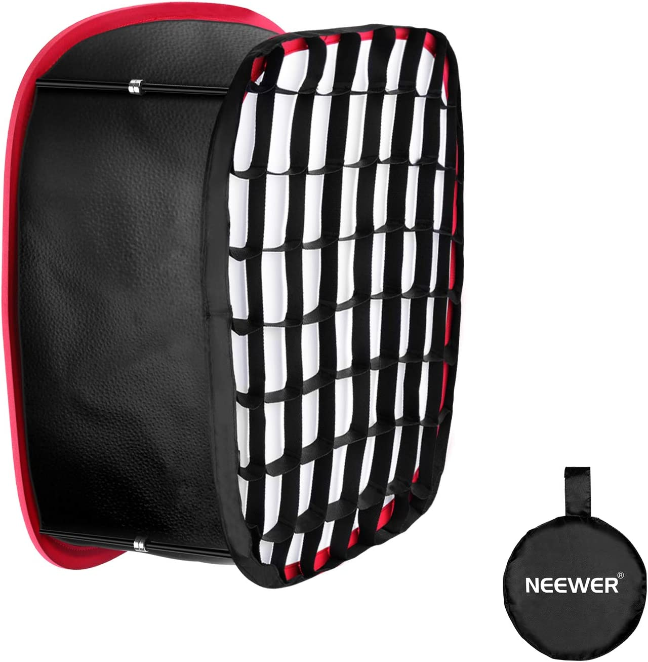 Neewer Collapsible Softbox with Strap Attachment, Grid and Carrying Bag Compatible with Neewer 480/660/530 LED Light Panels, 9.25x8.27 inches Opening (Black+Red)