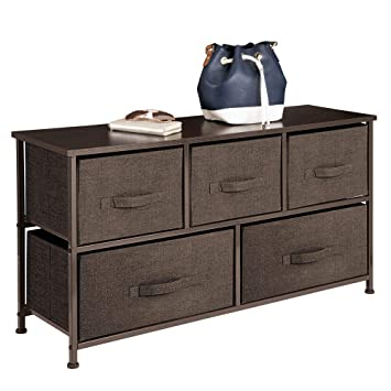 mDesign Cómoda de tela – Práctico organizador de armarios con 5 cajones – Sistema de almacenamiento para el dormitorio, apartamentos y salas ...