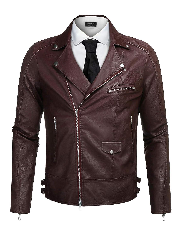 COOFANDY Men's Police Style PU Leather Motorcycle Zipper Biker Jacket XSJ007522