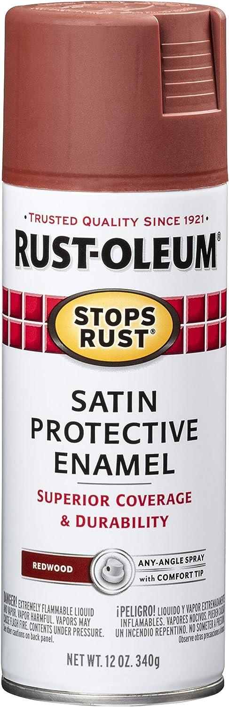 Rust-Oleum 7767830 Stops Rust Spray Paint, 12 Oz, Satin Redwood