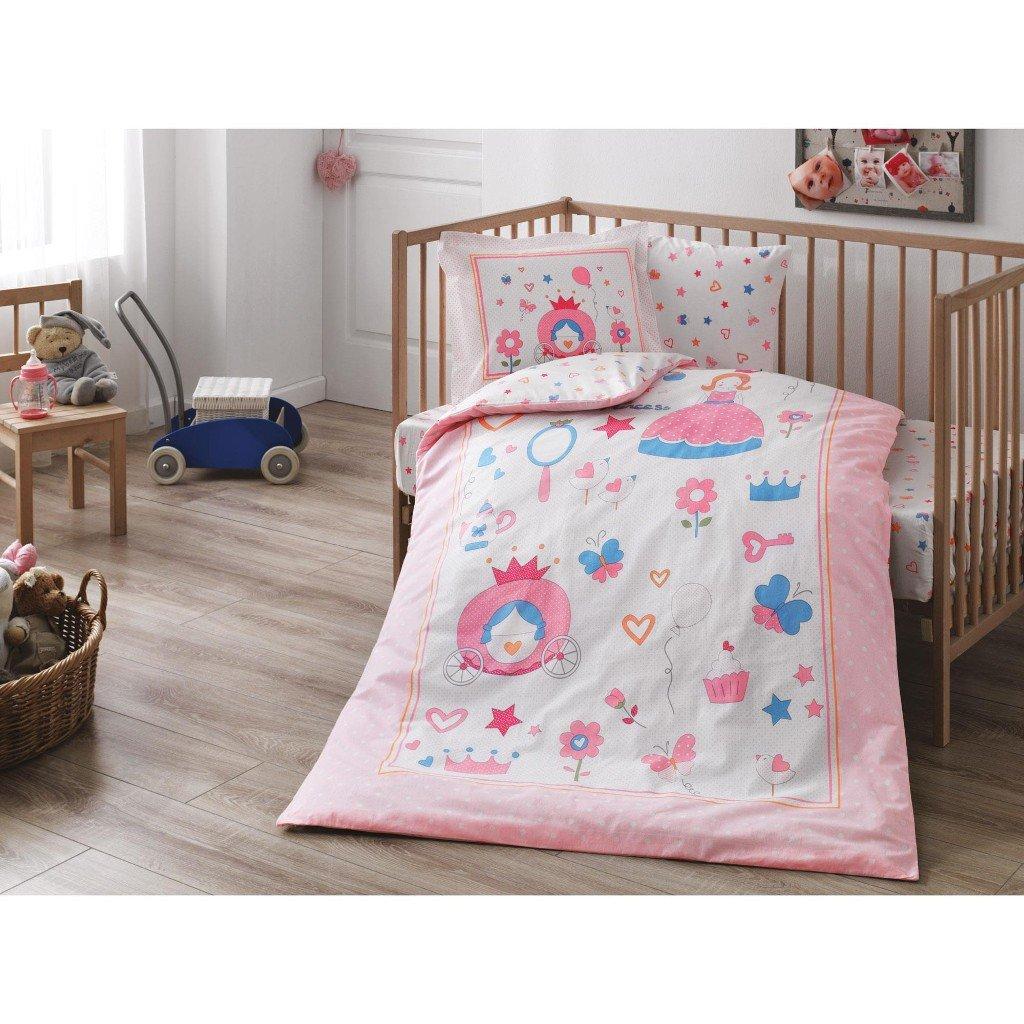 DecoMood Fancy Little Princes, 100% Organic Cotton Soft Healthy Nursery Crib Bedding Duvet Cover Set Baby Boys, 4 Pieces