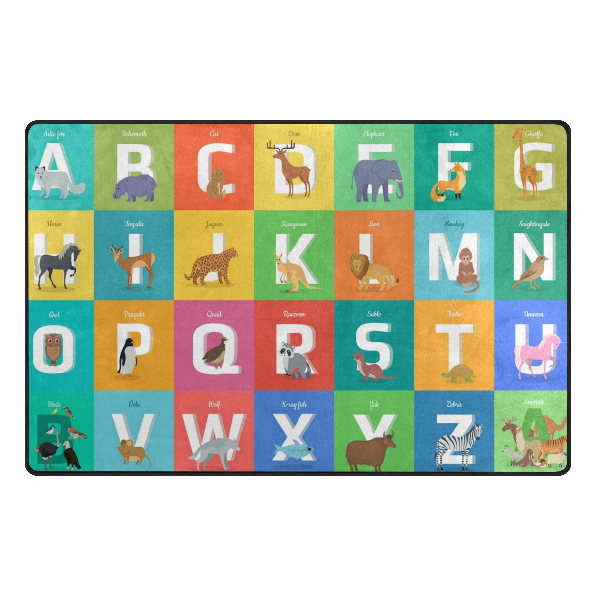 YZGO Animals Alphabet Letter - Kids Children Area Rugs Non-Slip Floor Mat Resting Area Doormats