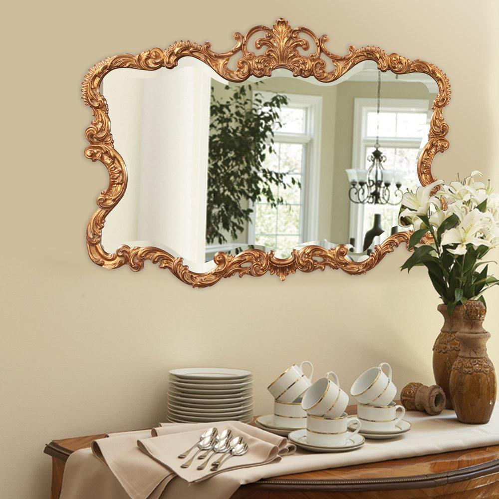 Howard Elliott Talida Mirror, Ornate Wall Focal Point, Resin Frame, Gold, 27 Inch x 38 Inch x 1 Inch