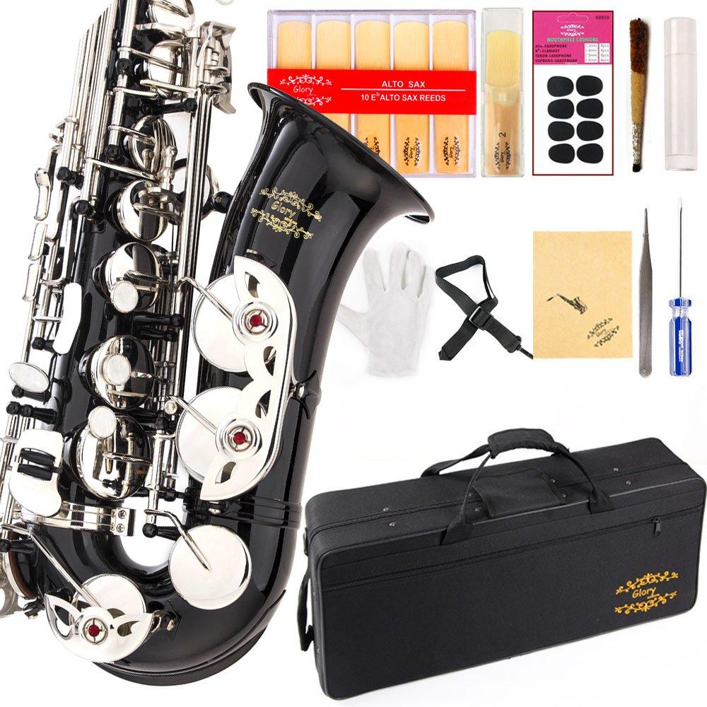 Saxofon Alto Negro De Glory Con Funda Y Accesorios (xmp)