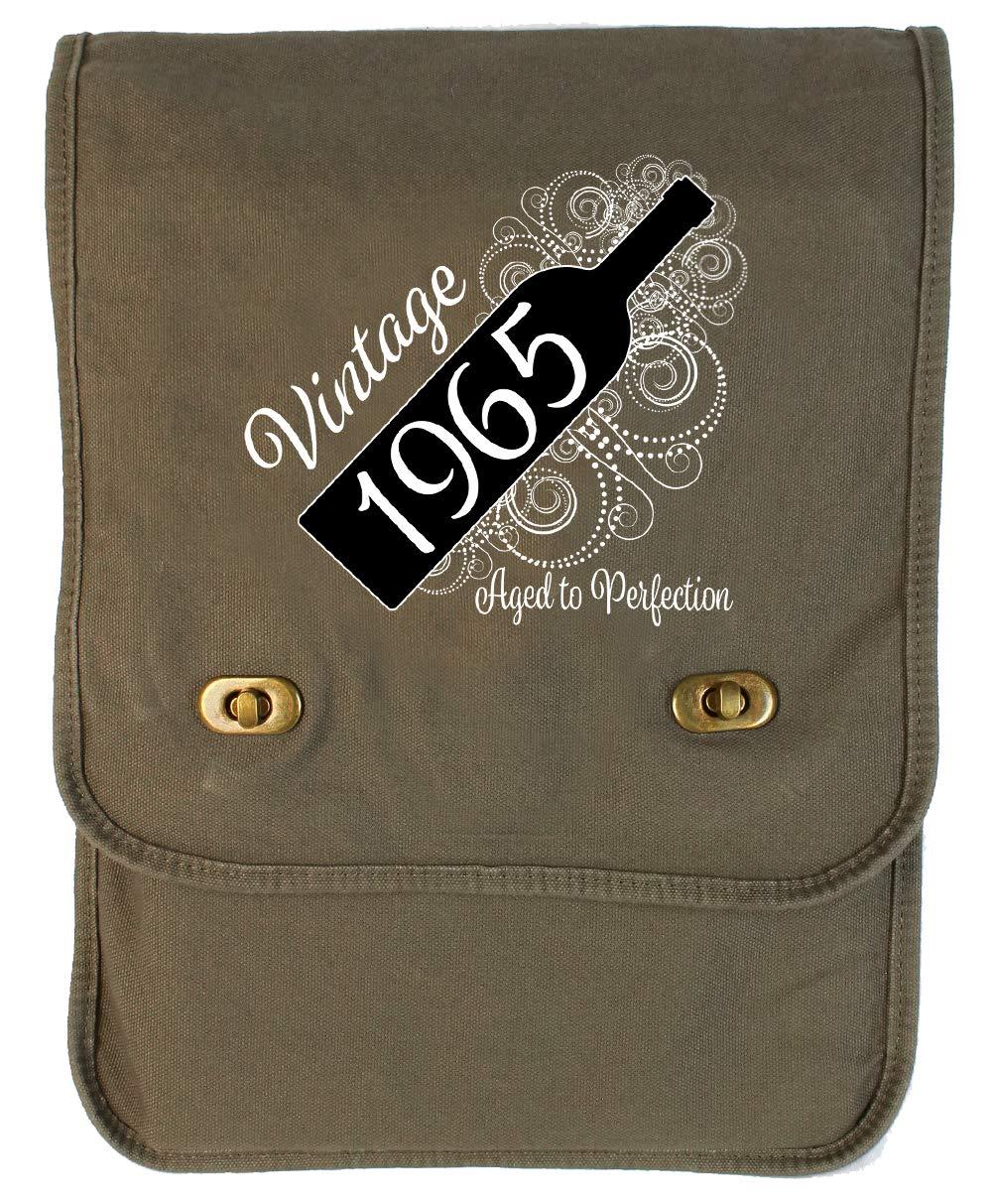 Aged Like a Fine Wine Khaki Green Raw Edge Canvas Messenger Bag Tenacitee Born in 1965