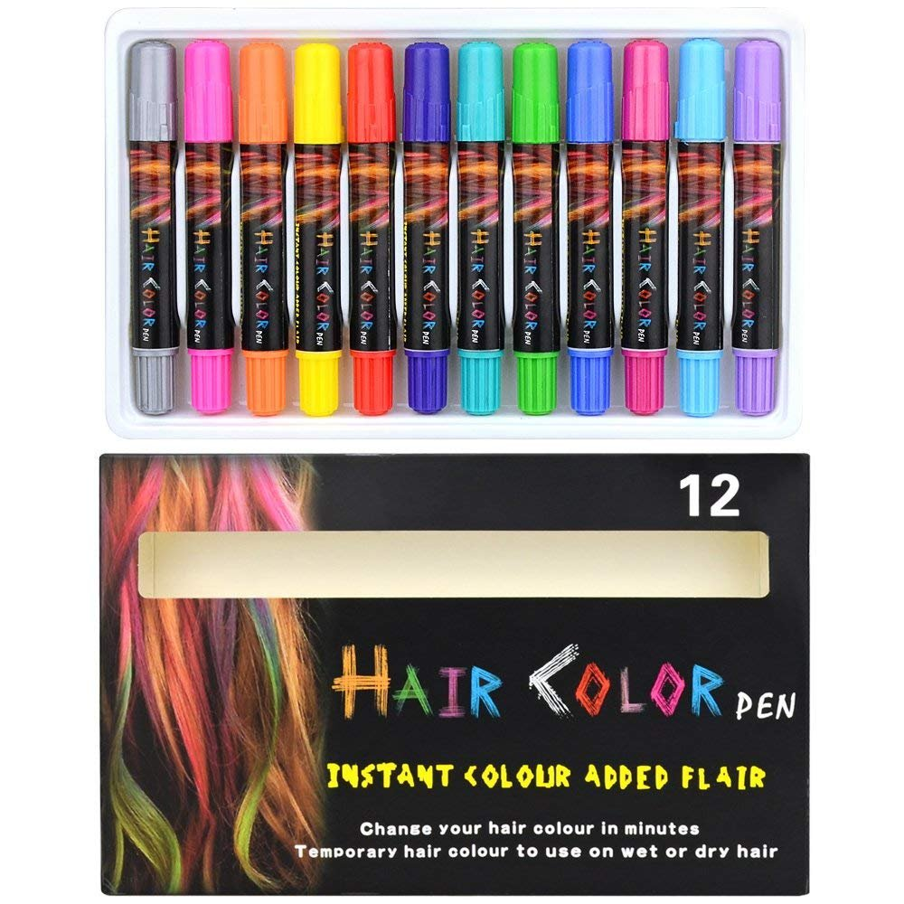 Hair Chalks Powcan 12 Pack Temporary Hair Chalk Pens Washable Hair Colors Dye Safe Hair Chalk Colours for Kids and Teen - Scented - Washes Out Easily- Great Gift for Birthday, Christmas, New Year