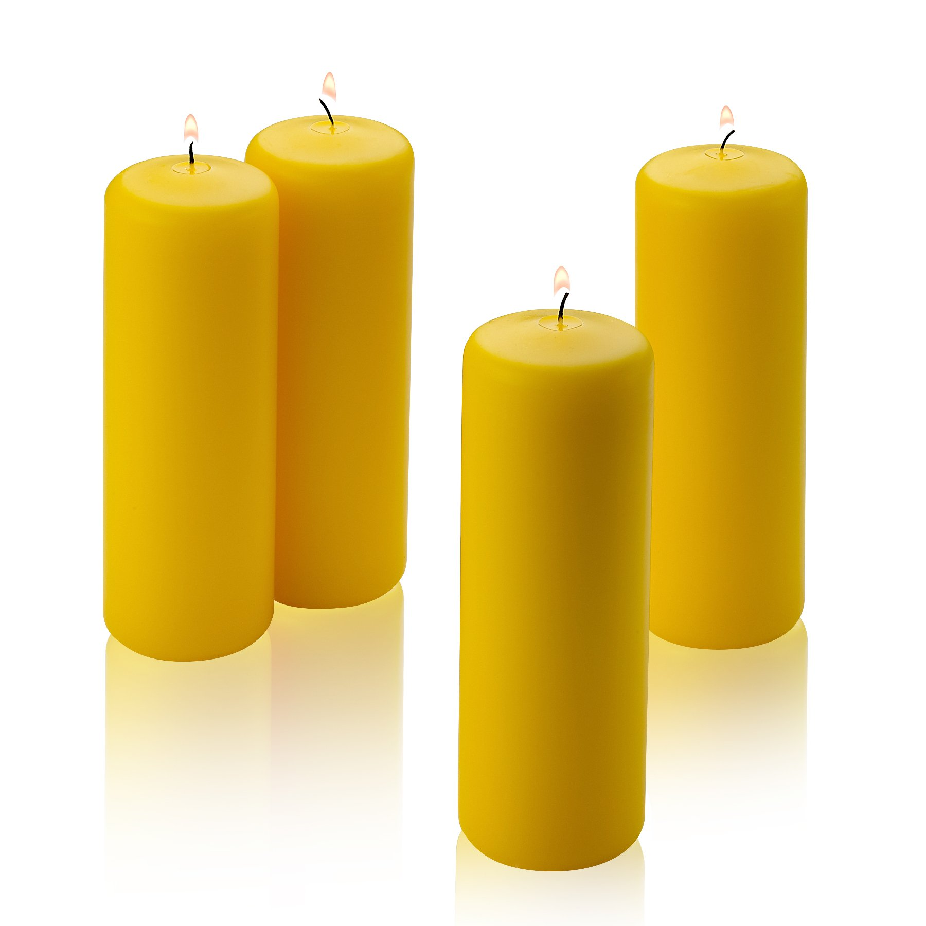 Light In The Dark Citronella Pillar Candle - Set of 4 Yellow Citronella Scented Pillar Candles 2'' Inch Wide X 6'' Tall