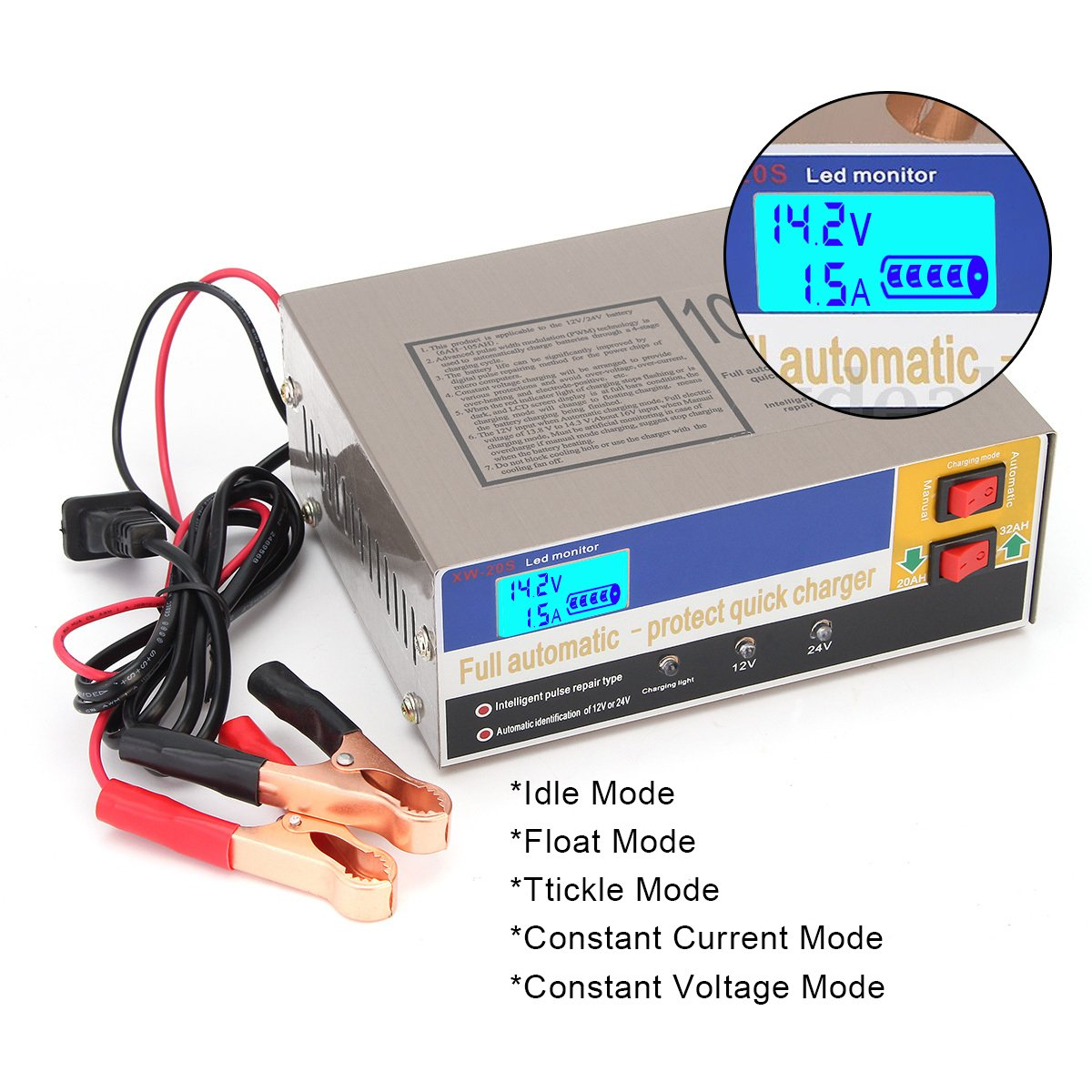 Wisamic 12v 24v 100ah Automatic Electric Car Battery 6v Charger Maintainer 750ma Lead Acid Intelligent Pulse Repair Type Automotive