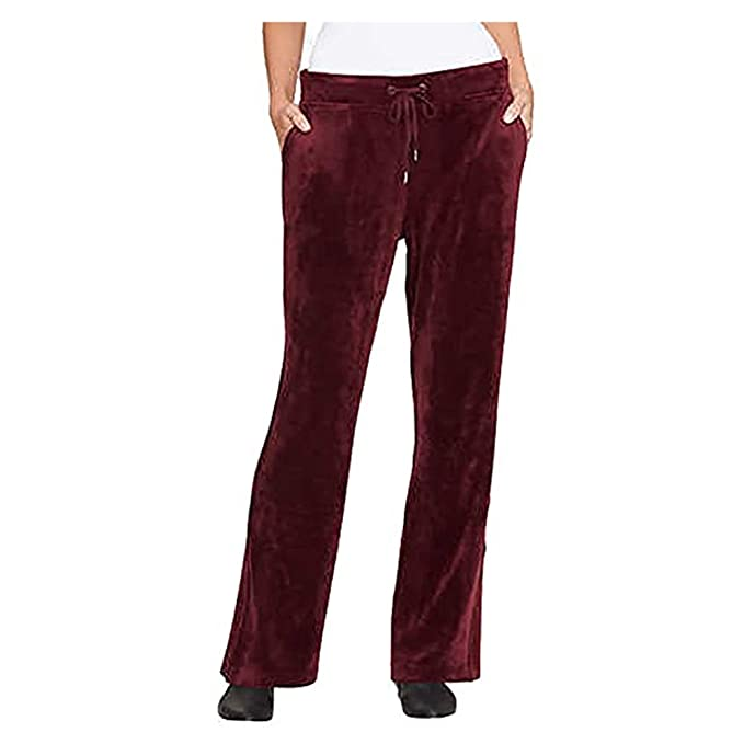 056b04e49c80a Gloria Vanderbilt Ladies Jemma Ultra Soft Velour Pants (Merlot