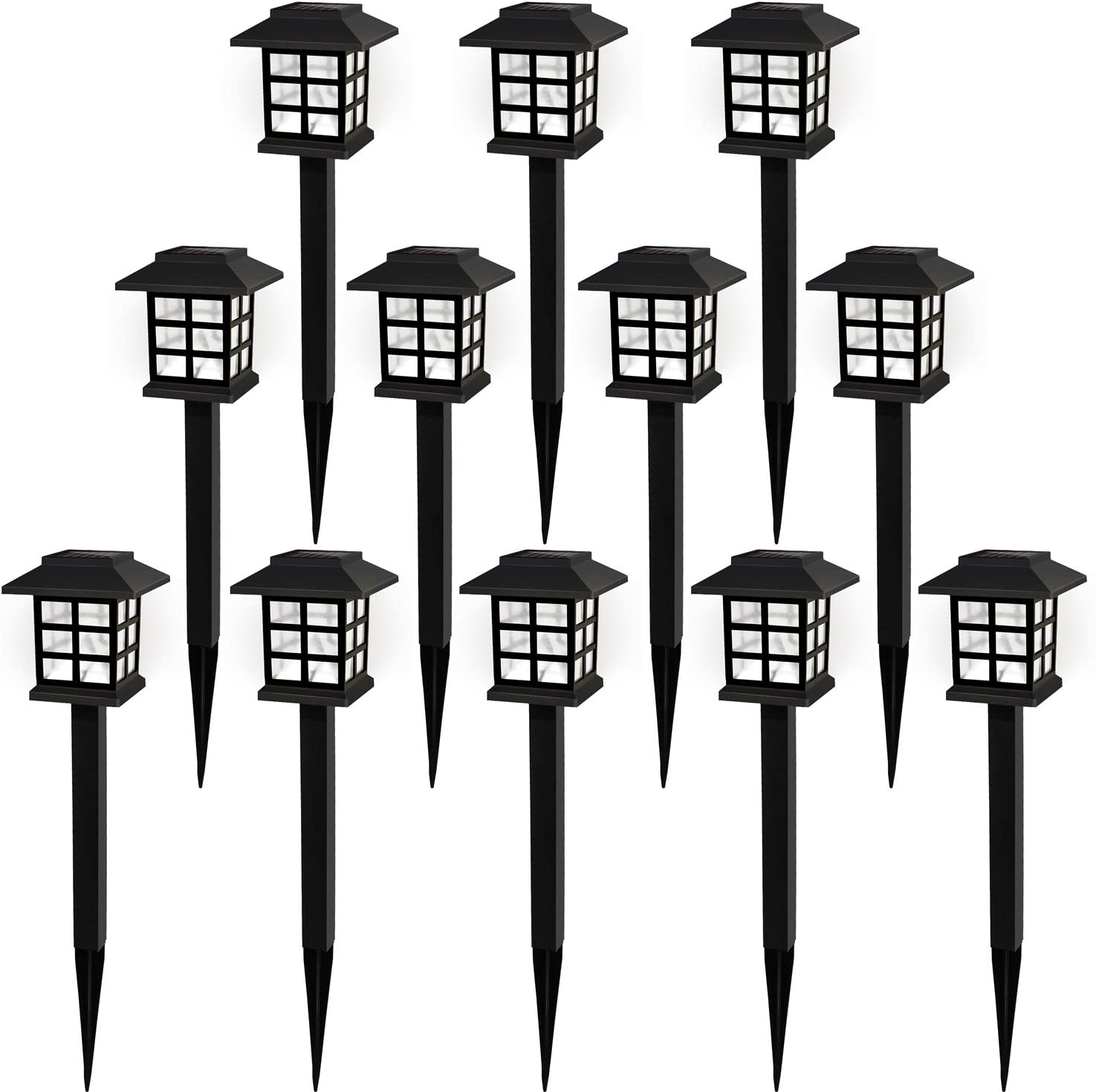 Solar Pathway Lights Outdoor Garden Lights Solar Powered Led Lawn Landscape Decoration Waterproof for Walkway Yard Driveway Backyard White Light Cold White 12 Pack