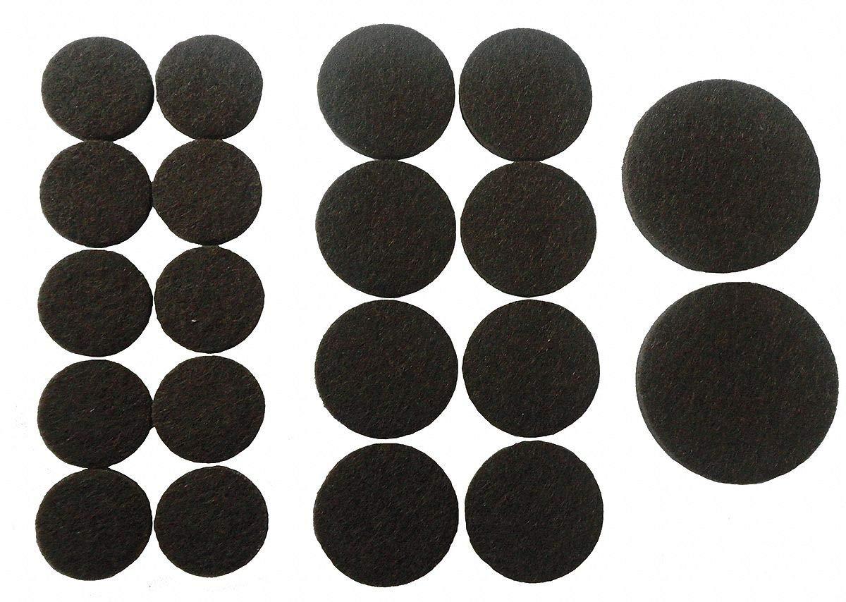 Round Self-Stick Adhesive Felt Pads, Brown, 3/4', 1', 1-1/2' Dia, 1EA - Pack of 5