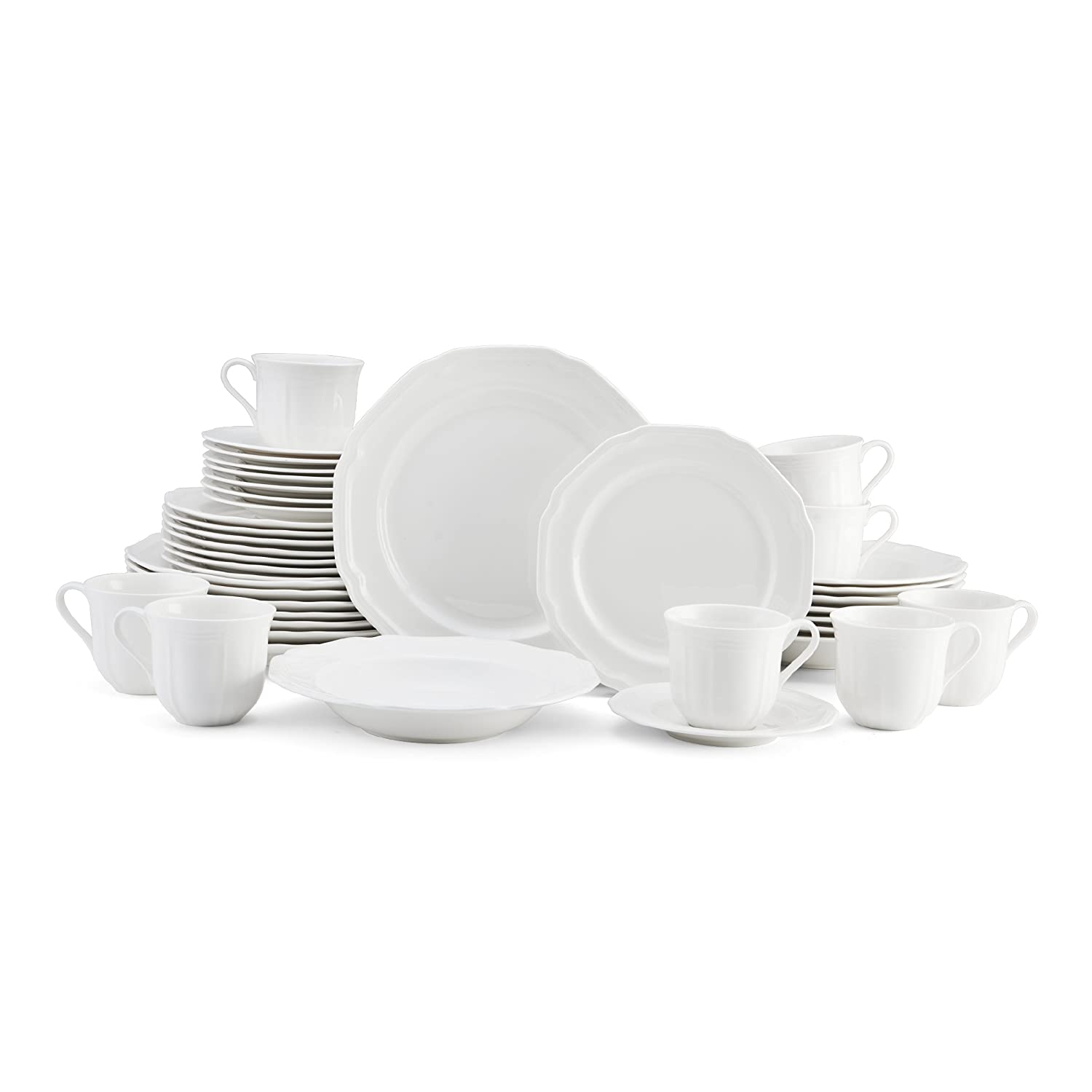 Mikasa Antique White 40-Piece Porcelain Dinnerware Set Service for 8 | ChristmasTablescapeDecor.com