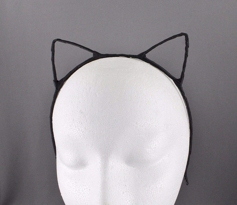Black and white felt cat ears headband Kitten ears cat ear headband floral ears cat lover gift cat style anime kitty kawaii baby kitty ears