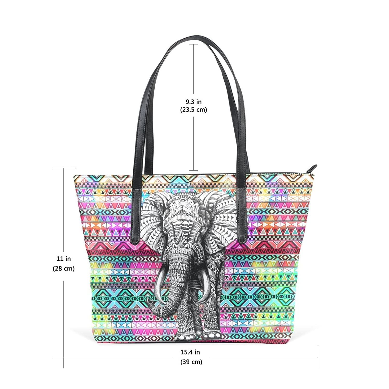 WOOR Aztec Elephant Women's Soft Leather Zipper Closure Large Handbags Tote Shoulder Bags
