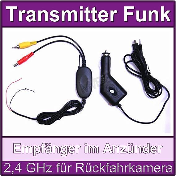 2 4 Ghz RÜckfahrkamera Funk Transmitter Sender EmpfÄnger Im ZigarettenanzÜnder Für Auto Rückfahrsystem Kfz Kennzeichen Auto