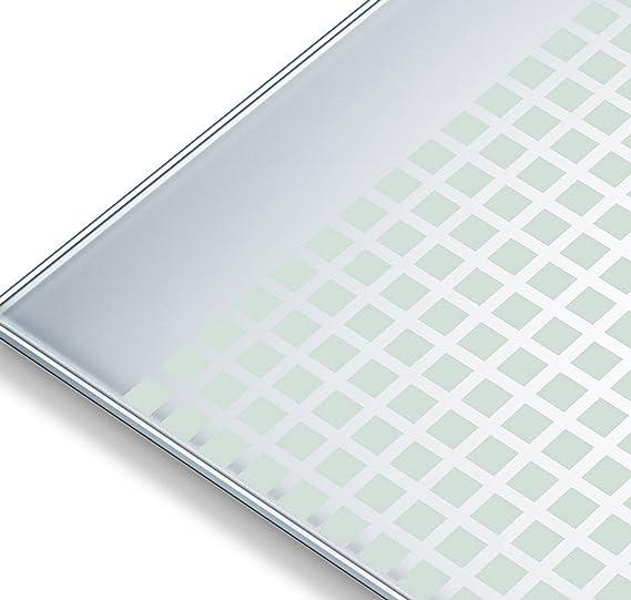 Beurer GS 206 - Báscula de baño de vidrio, diseño de cuadros, color plateado: Amazon.es: Salud y cuidado personal