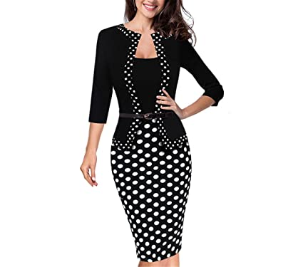 Albina Collins One-Piece Faux Jacket Retro Contrast Polka Vestidos Office Bodycon Women Sheath Dress