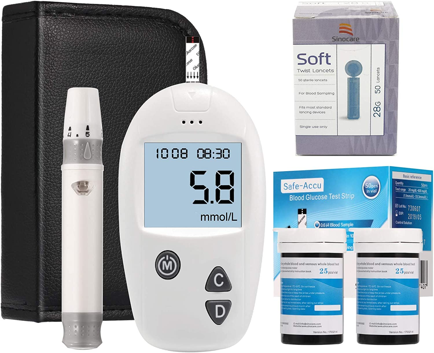 Sinocare Blood Glucose Monitoring Kit Diabetes Test Kit Blood Sugar Testing Kit Codefree Pack 50 Strips For Uk Diabetics Eligible For Vat Relief In The Uk Amazon Co Uk Health Personal Care