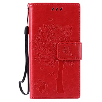 Nancen Tasche Hülle für Sony Xperia Z5 Compact / Z5 Mini Flip Schutzhülle Zubehör Lederhülle mit Silikon Back Cover PU Leder