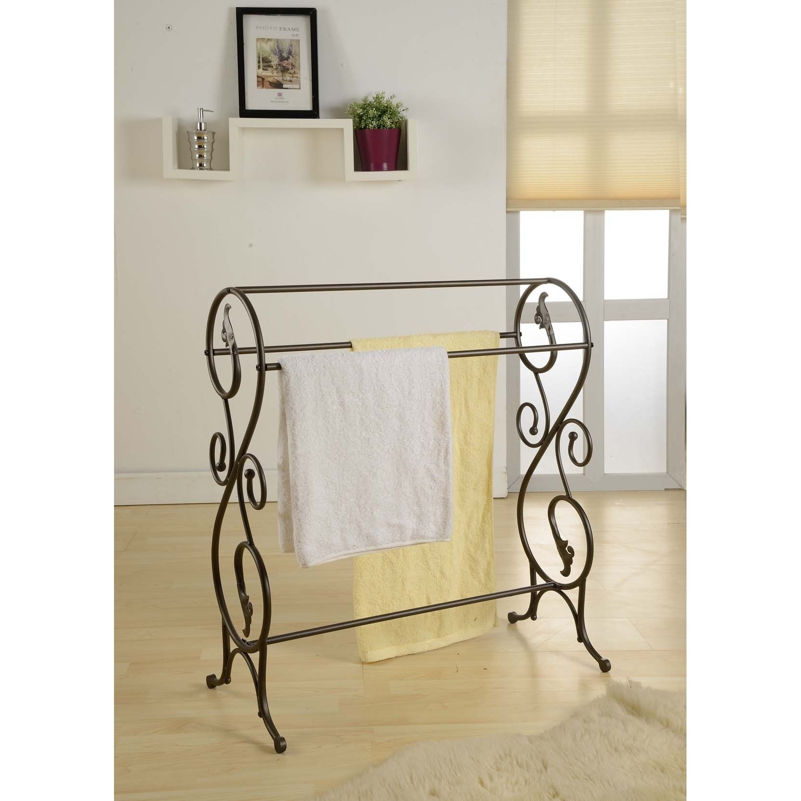 King's Brand 1410 Antique Style Pewter Finish Towel Rack Stand by King's Brand