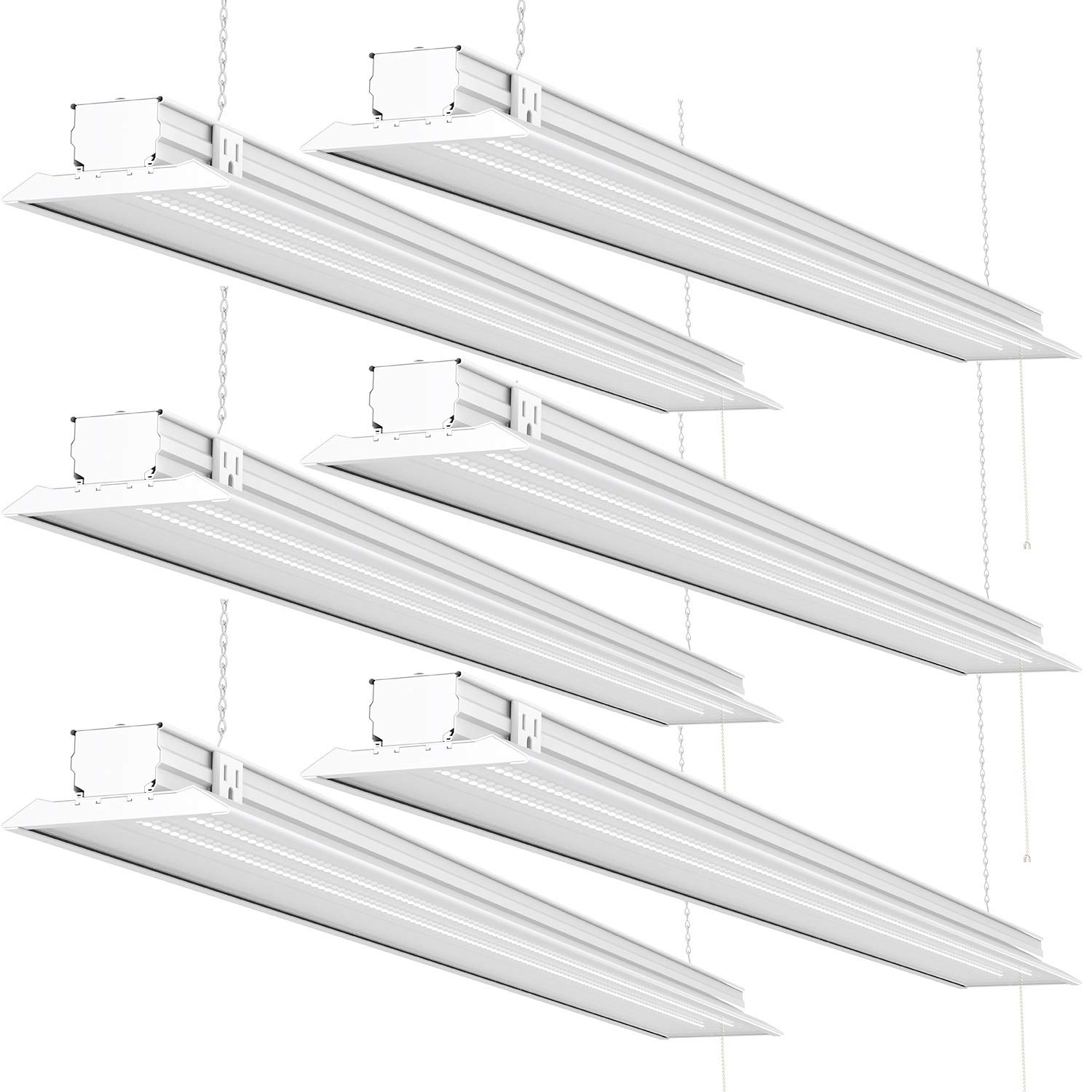 Sunco Lighting 6 Pack Flat LED Shop Light, 4 FT, Linkable Double Integrated LED, 40W=300W, 5000K Daylight, 4500 LM, Clear Lens, Plug in, Suspension Mount, Pull Chain, Garage - ETL + Energy Star by Sunco Lighting