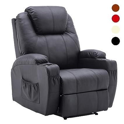 Amazon.com: Manual Recliner Chair Media Armchair PU Leather ...
