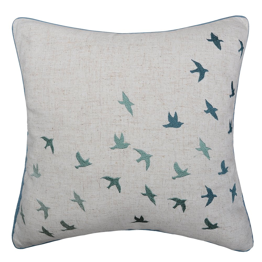 OiseauVoler Throw Pillow Covers Linen Pillowslips Animal Decorative Cushion Covers Embroidered Birds Square Pillowcases Home Bed Sofa Room Decor 18 x 18 Inch