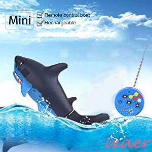 ixaer Cute Mini Shark Remote Control Toy, Ship Submarines Lively Swim Toy/ Underwater Remote Control Small Shark/Electric RC Fish Boat/ Shark Swim in Water for Kids. (Light Blue)