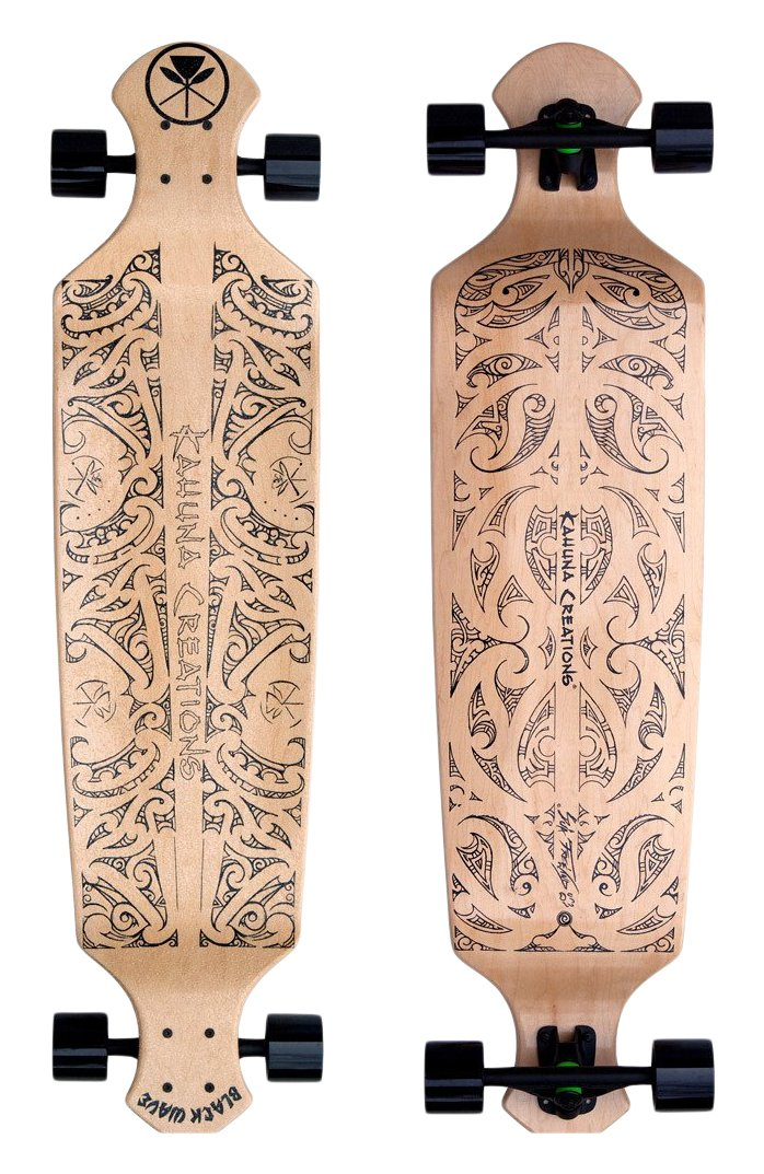Kahuna Creations Wave Natural Drop Deck Longboard, Black Tribal, 43'' x 10'' by Kahuna Creations