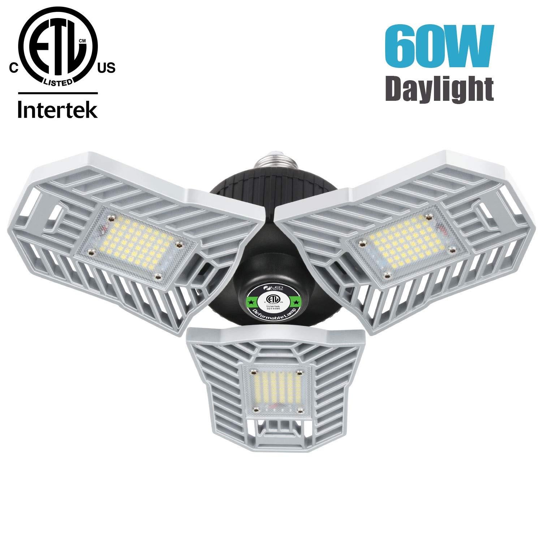 Falive Garage Lighting 60W 6000LM LED Garage Lights Super Bright Garage Lights with Adjustable Multi-Position Panels Tribright Garage Ceiling Light Bulb for Garage, Attic, Basement (No Sensor)