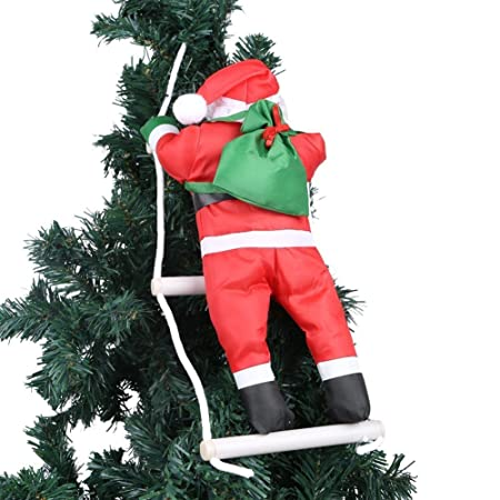 one santa claus climbing on rope ladder for christmas tree indoor outdoor hanging ornament decor christmas