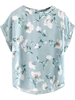 564638fecb SheIn Women's Print Curved Hem Top Cuffed Short Sleeve Blouse Large Blue#