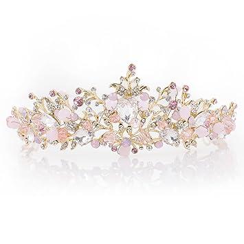 Yean Gold Wedding Crown Bridal Tiaras Princess Pink Purple Headband For Women And Girls