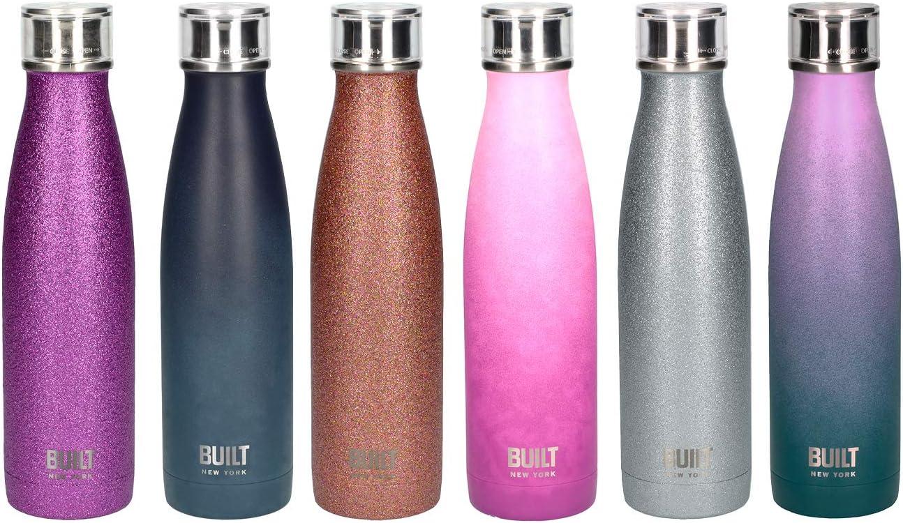 Built Perfect Seal botella de agua con aislamiento/termo con tapa a prueba de fugas, color Purpurina de oro rosa, tamaño 500 ml