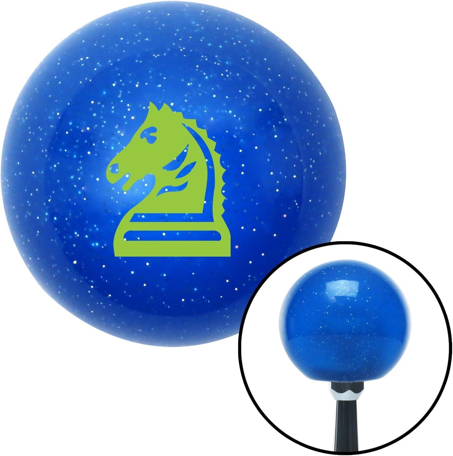 American Shifter 26843 Blue Metal Flake Shift Knob Green Knight Horse