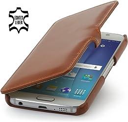 StilGut Book Type Case, Custodia in Vera Pelle a Libro per Samsung Galaxy S6