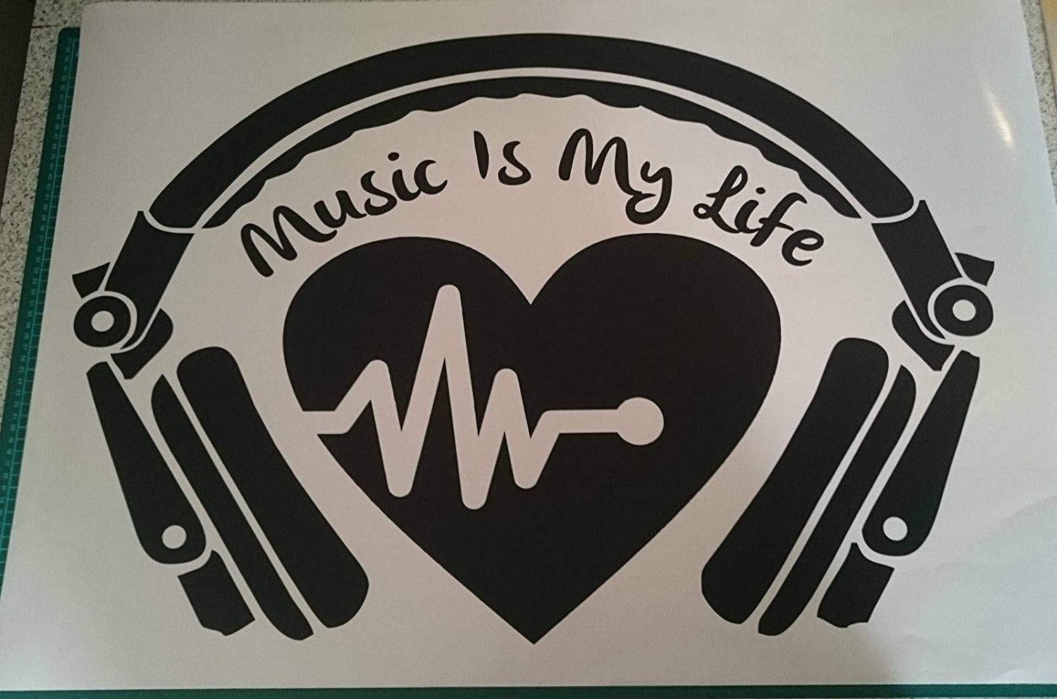 Headphone Heartbeat Music Is My Life Quote Decorative Vinyl Wall Sticker Decal