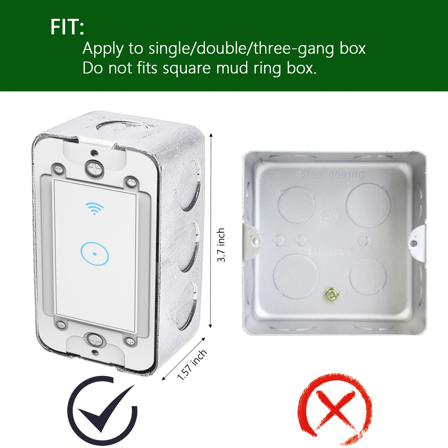 Smart Light Switch Wi Fi In Wall Wireless Compatible Wiring Diagram 3 Gang Box With Amazon Alexa Remote Control Your Fixtures From Anywhere Timing Function