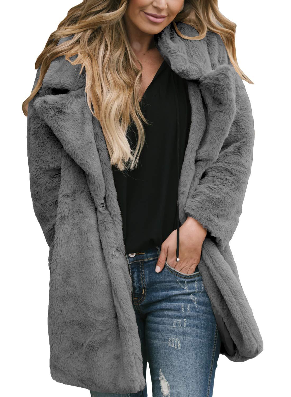 Asvivid Womens Casual Fuzzy Long Sleeve Lapel Faux Fur Shaggy Oversized Jacket Sweater Cardigan Outwear L Grey