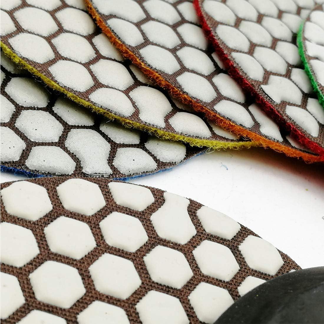 SHDIATOOL Diamante Almohadilla de Pulido 8 Piezas Grano Mixta y un Respaldo de Plastico para Pulir en Seco M/ármol Granito Piedra Cer/ámica Dia 100mm//4 Pulgadas