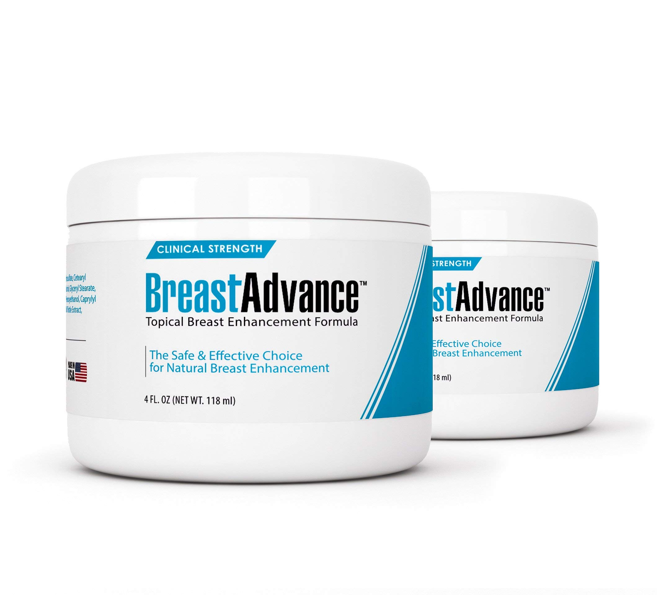 Breast Advance (2 Jars) - Premium, Topical Breast Augmentation Formula - The Safe, Natural Choice for Bust Enhancement, Enlargement/Increasing, Enlarging Cup Size