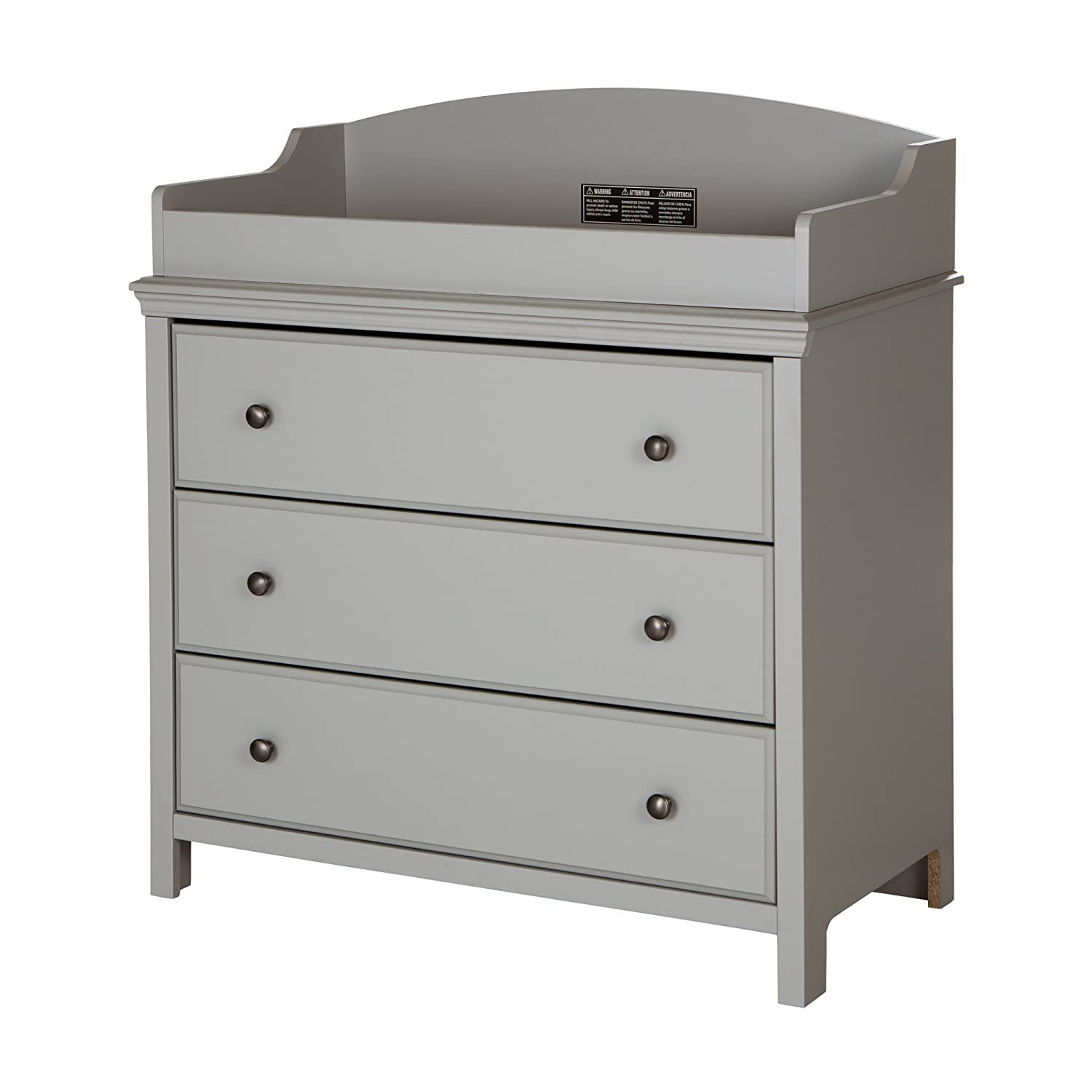 South Shore Furniture 9020330 Cotton Candy Changing Table with Drawers, Soft Gray