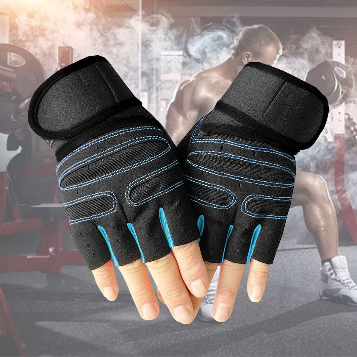 Crossfit and Strength Training Blue Perfect for Cycling Fitness LQRLY Training Gloves Breathable Weight Lifting Gloves with Wrist Support Anti Slip Gym Gloves