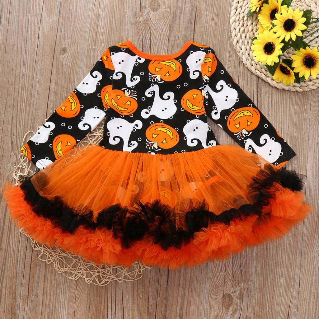 Vovotrade Baby Girls Halloween Dress Long Sleeve Printed Romper Jumpsuit Dresses Outfits