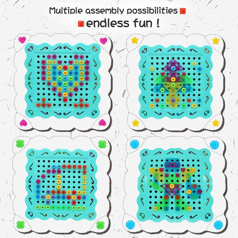 Nuheby Rompecabezas Tablero con Setas de Clavijas Caja Juguetes Bricolaje Conjunto para Niños de 3 Años+