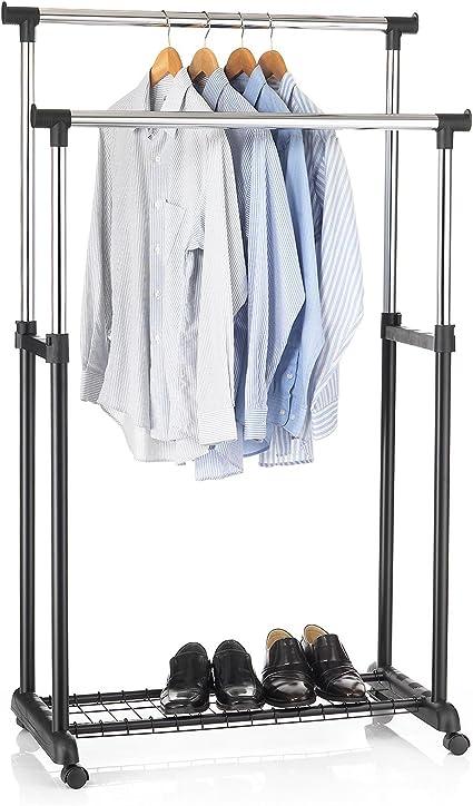 Portant à vêtements penderie simple sur roulettes avec hauteur réglable chromé