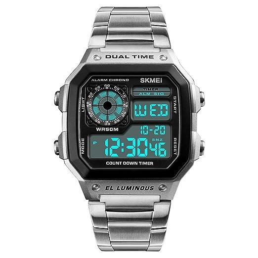 Moda Hombres al Aire Libre Deportes Relojes Cuadrados Carcasa multifunción electrónica Digital Reloj de Pulsera de Negocios Impermeable LED luz de Fondo: ...